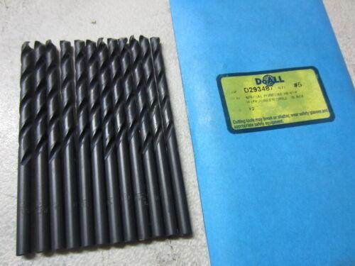 12 GREENFIELD #5 Wire Jobber Length HSS 135 Deree Split Point Twist Drill Bits