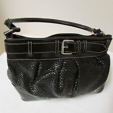 NY & Co. Black Faux Leather Shoulder Bag With Weave And Buckle Accent