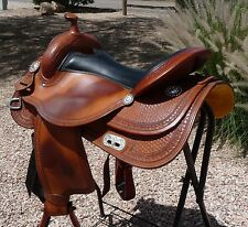 "Huber's Huber Custom Reining Saddle 17"" NICE"