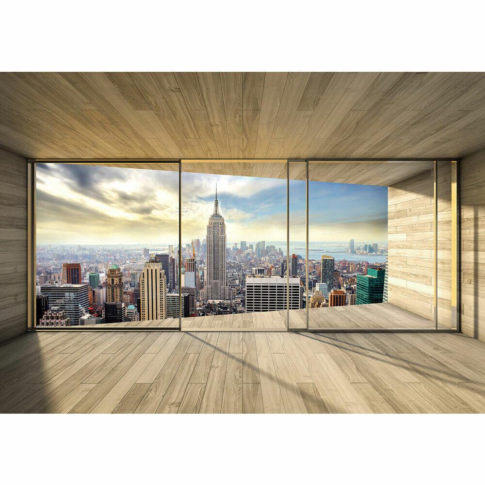 Papier Peint Photo Chambre Bois Skyline Manhattan New York Liwwing Numéro 3139