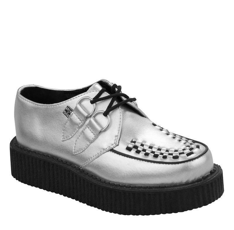 T.U.K A8523 Silver Leather Round Toe Low Sole Creeper