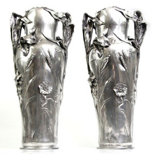 Rare-Art-Nouveau-Pair-Of-Large-Pewter-Floor-Vases-J-R-Hannig-Germany-Ca-1900