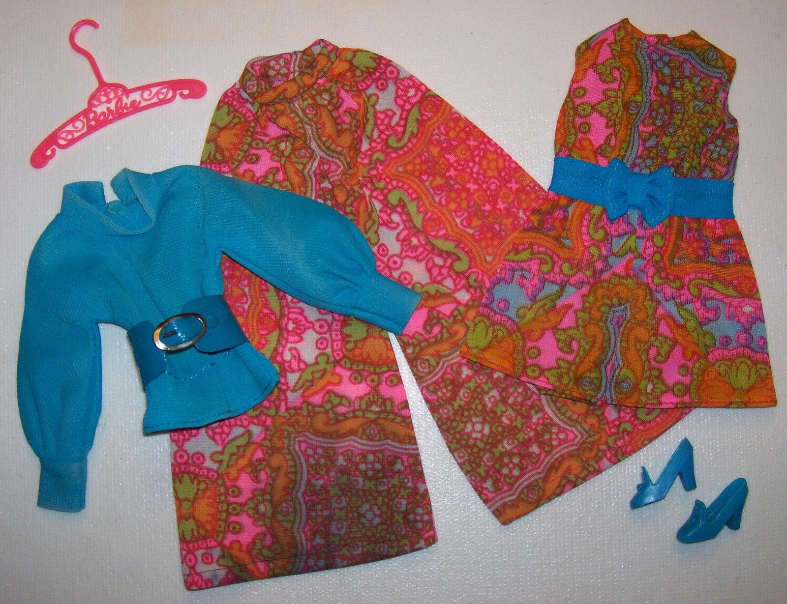 Vintage Barbie Mod Mood Matchers Vestito Completo  1792 Htf Cintura & zapatos