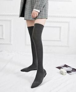 Women's Sock Over Knee High Boots