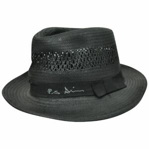 Peter Grimm Herringbone Black Woven Paper Bow Band Fedora Stetson ... 9973d0ac529f