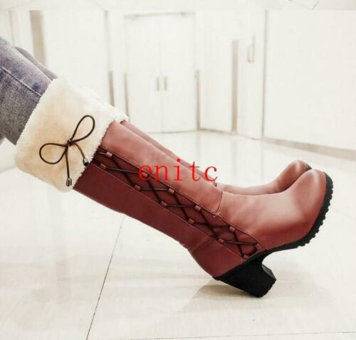 Details about  /Womens Round toe Block heel Fur trim Laceup knee High Boots casual Shoes Vintage