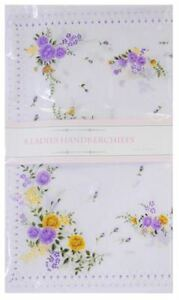 Ladies-Floral-Design-Poly-Cotton-Value-Pack-of-8-Hankies-handkerchiefs-Poison-ELNO-a-tous