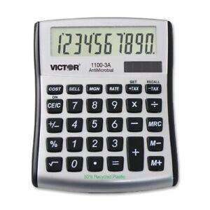 Victor 11003a Mini Desktop Calculator - 10 Character[s] - Lcd - Solar, Battery
