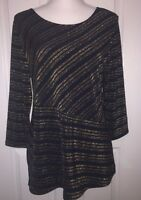 Travelers By Chico's Tunic Top 1 Navy Gold Metallic 3/4 Sleeve M 8-10
