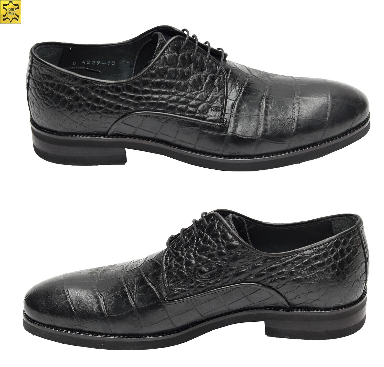 Muga Herren Schuhe Kroko-Optik Gr.41 Schwarz