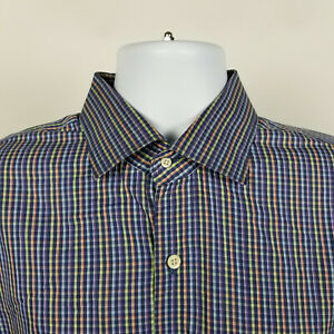 Peter-Millar-Crown-Finish-Blue-Purple-Mini-Check-Mens-Dress-Button-Shirt-Size-XL