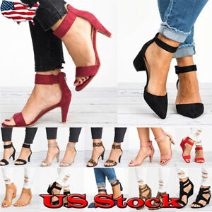 US-Women-039-s-Wedge-Sandals-Low-Heels-Ankle-Strap-Buckle-Gladaitor-Shoes-Size-5-8-5