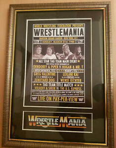 WWF-Wrestlemania-1-Framed-Retro-Memorabilia-Hulk-Hogan-V-Roddy-Piper-Wrestling