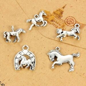 5Pcs-Mixed-Multi-forme-animal-horse-Alloy-Charms-Pendentifs-A-faire-soi-meme-Bracelet-Collier