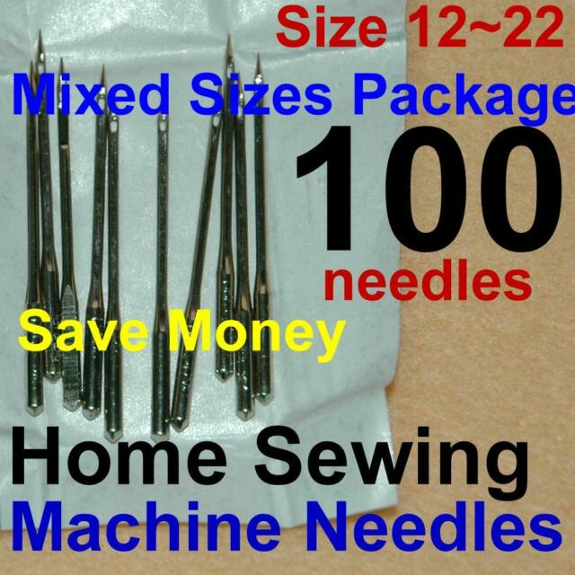 100 Home Sewing Machine Thread Needles Size 12 14 16 18 20 22 Kits for Singer