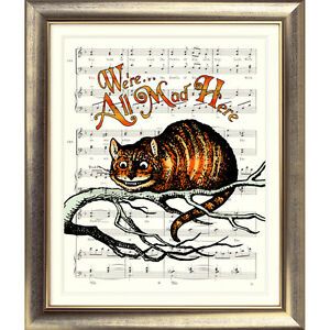 ART-PRINT-ORIGINAL-VINTAGE-MUSIC-SHEET-Old-Page-CHESHIRE-CAT-Alice-in-Wonderland