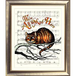 Alice-in-Wonderland-ART-PRINT-ORIGINAL-VINTAGE-MUSIC-SHEET-Old-Page-CHESHIRE-CAT