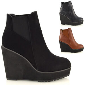 Womens-Wedge-Heel-Chelsea-Chunky-Cleated-Platform-Ladies-Ankle-Boots-Shoes-Size
