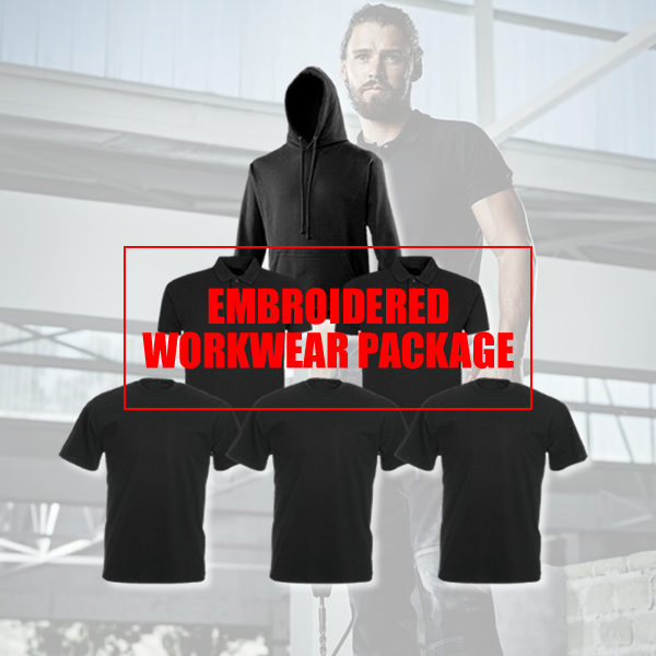 PERSONALISED EMBROIDErot BUSINESS WORK WEAR PACKAGE 1 1 1 HOODY 2 POLO 3 T SHIRTS 97d1b4