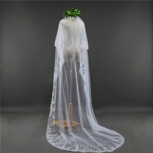 3M-2T-Lace-Edge-White-Ivory-Cathedral-Sequins-Long-Bridal-Veil-Wedding