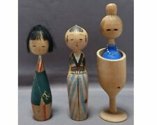 Vintage Japanese lovely girls Kokeshi doll  3 pieces  1705020