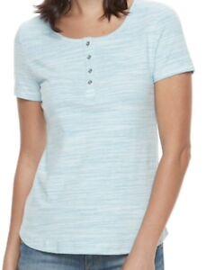 CROFT-amp-BARROW-Womens-Henley-Classic-Tee-T-Shirt-Top-Size-XXL-Green-White-NWT