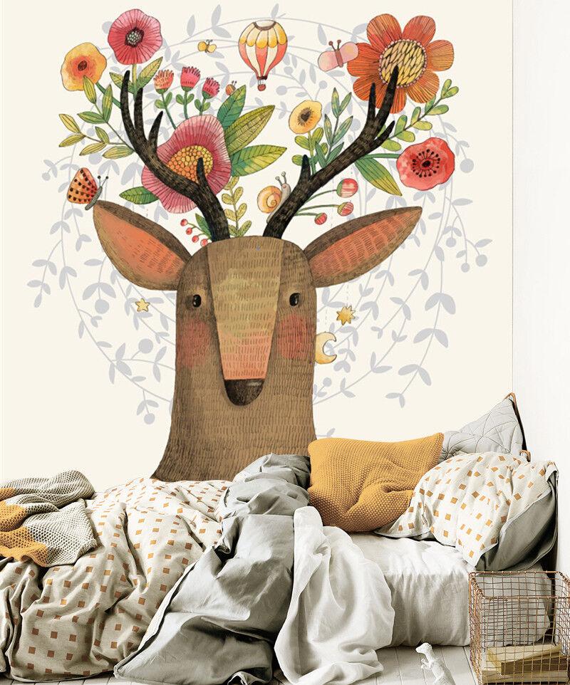 3D Gemalte Blaumen Hirsch 8054 Tapete Wandgemälde Tapeten Bild Familie DE Lemon | Moderner Modus  | Ich kann es nicht ablegen  | Erschwinglich