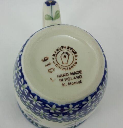 Becher K081-ASS Blumen- 0,3 Liter, Bunzlauer Keramik Tasse MARS blau//weiß