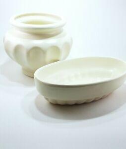 Beautiful-Haeger-Pottery-Ivory-White-Vase-amp-Matching-Oval-Planter