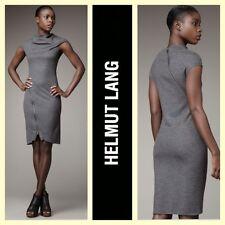Helmut Lang $395 'Sonar' gray wool knit asymmetric zipper dress dress~L/M