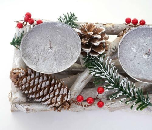 Adventskranz Weihnachtsgesteck länglich Holz 11x15x50cm mit Kerzen rot