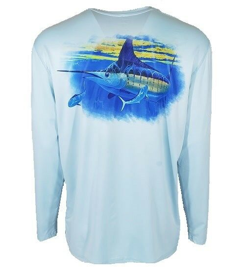 Guy Harvey Mens Cover Charge L S Performance Tee MH68860, Mist, Large, NWT