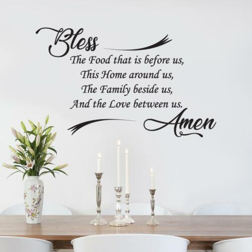 BLESS THE FOOD Kitchen Amen WALL STICKER Decal Lettering Decor Art Quote SQ180