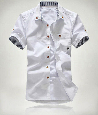 New Korean Men's Fashion Short Sleeve Fitted Tops Handsome Casual Shirt