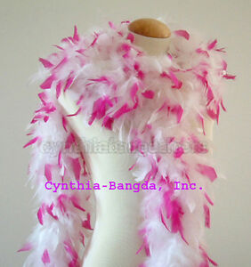 65-gms-Chandelle-feather-boa-WhiTe-w-HoT-PiNK-Tips