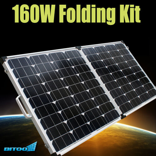NEW - 160W Folding Solar Panels Kit Portable 12V Camping Caravan Battery Charger