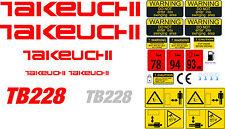 Takeuchi TB228 Mini Escavatore decalcomania Set