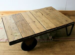 Trolley Coffee Table.Details About Vintage Industrial Pallet Truck Trolley Coffee Table