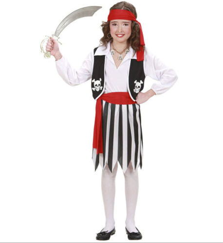 SALE GIRLS PIRATE FANCY DRESS COSTUME OUTFIT SIZES S,M,L AGES 5-13 HIGH SEA