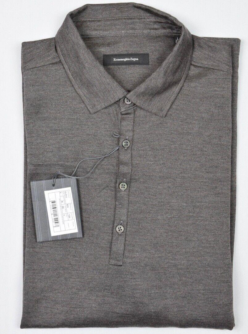 Ermenegildo Zegna Mens 2018 Wool Silk Brown Long Sleeve Polo Shirt L New