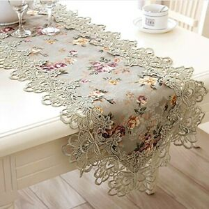 9-Sizes-Lace-Table-Runner-Rectangle-Tablecloth-Banquet-Wedding-Party-Decoration