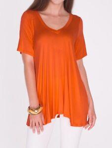 da8f96adca1 Rust Orange A-Line V-Neck Loose Tunic Top T-Shirt Blouse SML/Plus ...