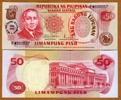 Pick 165 Philippines Low S//Ns UNC /> Commemorative 50 Piso 1978