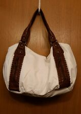 Bueno Big White Faux Leather Brown Trim Shoulder bag Purse lots of pockets