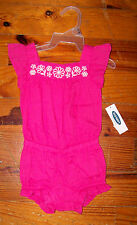New Girls OLD NAVY Pink /& White Floral Embroidered One-Piece Outfit 0-3 Months