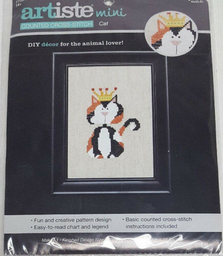 KING//QUEEN CALICO Kitty Cat ARTISTE Counted Cross Stitch Kit 1115518 NEW