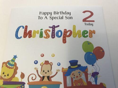 Personalised train Circus Birthday Card 1st 2nd 3rd 4 Son Grandson Godson Nephew