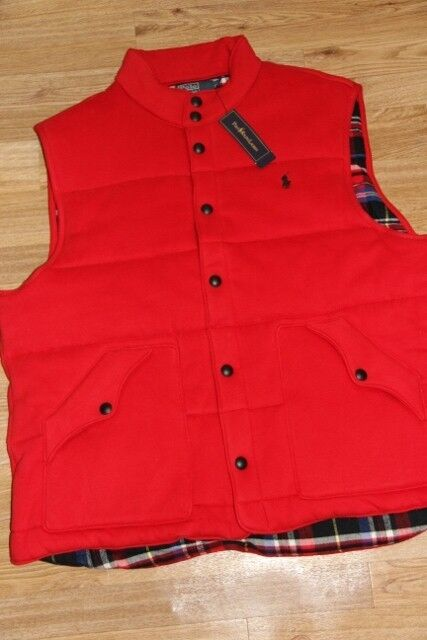 Ralph Lauren Down Puffy Tartan-Lined Fleece Vest flag ROT Vest men XL XLarge