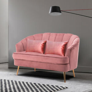 Marvelous Details About Velvet Chesterfield Loveseat Sofa Scallop Chair Settee Couch Fireside Blush Pink Download Free Architecture Designs Grimeyleaguecom