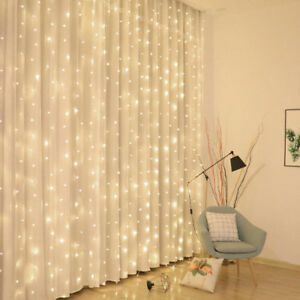 Christmas Light Curtains.Details About 3mx3m Led 300 Christmas Xmas Plug In Curtain Fairy Lights String Window Curtains